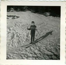 PHOTO ANCIENNE - VINTAGE SNAPSHOT - SPORT SKI ENFANT SKIEUR OMBRE - SKIING CHILD