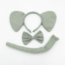 Elephant Animal Zoo Farm Jungle Headband Big Ears Bow Tie Tail Set Fancy Dress