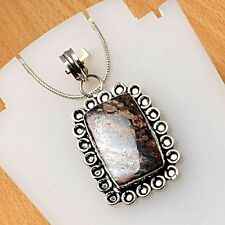 925 Sterling Silver Overlay Pendant Jewellery Jasper 40mm Height PEN-A493