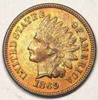 1869 Indian Cent Penny 1C - Choice AU / Uncirculated Details (UNC ) - Rare Coin!