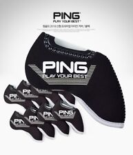 PING 2019 New Premium Original Golf Iron Club Head Cover(9pcs) Black Neoprene