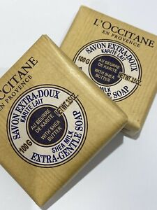 2 X Loccitane Extra Gentle Soap Bar 100g - WITH MILK SHEA BUTTER - NEW