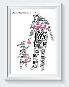 Personalised Fathers Day Gifts Dad Daddy Daughter Birthday Word Art Print ONLY