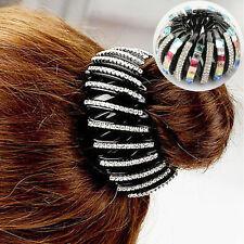 Women Crystal Expanding Ponytail Holder Hair Bun Grip Clip Clamp Claw Barrette