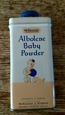 Tin Can McKessons & Robbins Baby Powder Nursery Advertising Graphics Vintage 4oz