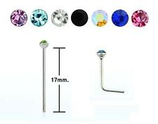 EXTRA LONG - Fishtail Nose Stud - STEEL Bend to Fit - 2mm Crystal - 0.8mm or 1mm