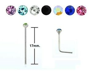 EXTRA LONG - Fishtail Nose Stud - STEEL - 2mm Crystal - 0.8mm or 1mm