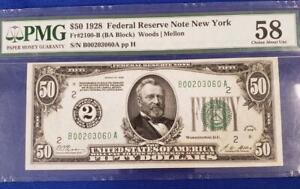 1928 $50 Fed. Resv. Note NY PMG AU58 Fr#2100-B (BA Block) L9931