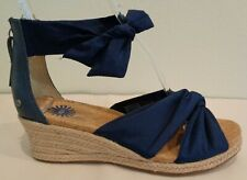 UGG Australia Size 9.5 STARLA Navy Leather Jute Wedge Sandals New Womens Shoes