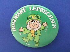 Russ Button Pin St Patrick Leprechaun Honorary Vintage Irish Holiday Pinback