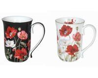 1pc Poppies Flowers Fine Bone China Coffee Tea Mug Cup 405cc w Box Gift