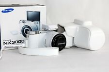 White Leather Camera Case Bag for Samsung NX3300 with 16-50mm or 20-50mm lens