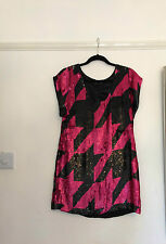 FRENCH CONNECTION PINK & BLACK SEQUIN DRESS SIZE 8