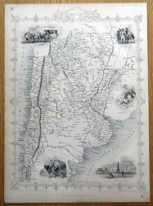 CHILI & LA PLATA, CHILE, ARGENTINA, S.AMERICA, Rapkin & Tallis antique map 1851