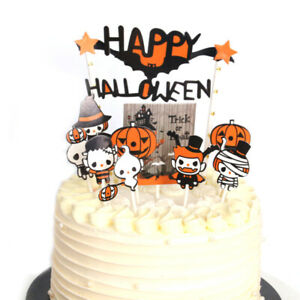 Halloween Horror Cupcake Cake Toppers Pumpkin Ghost Party DecorationB.ZY