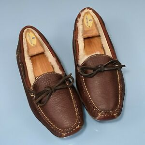 LL BEAN Wicked Good Mens 7M Shearling Lined Brown Leather Moc Toe Slippers Shoes