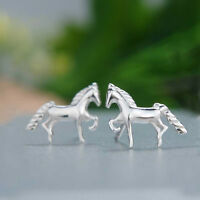 925 Sterling Silver Girls Cute Horse Pony Studs Earrings Horses Gift Boxed