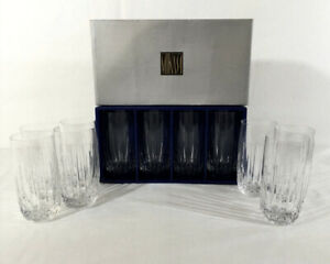 """Mikasa Crystal Plaza Suite Highball Glasses Tumblers 5 3/4"""" Tall Clear Glassware"""