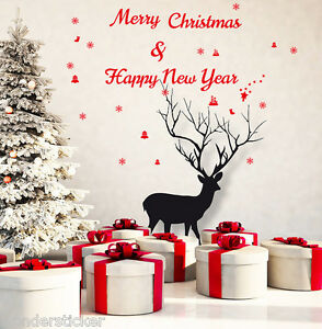 Merry Xmas & Happy New Year Wall ART Home Vinyl Wall Sticker/Decal- High Quality