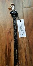 NWT Brahmin Ribbon Leather Key Chain Key Fob Solid Black Gold Claw Clasp org $35