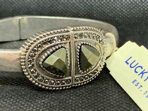 LUCKY BRAND Dark Crystal & Pave' Hinged Bangle Silver-Tone Bracelet NWT $39 L@@K