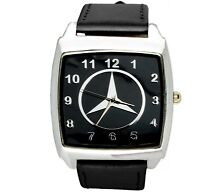 Mercedes Benz 3d chrome square sport watch black real leather strap