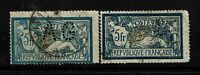France SC# 130 Used - x2 - AG and BP Perfin - BG w/ creased corner - Lot 081317