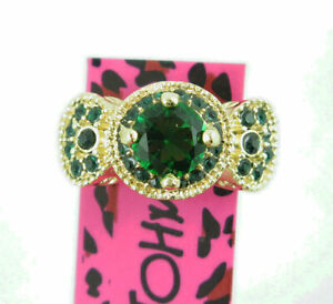 Fashion Betsey Johnson Gold Colour Green Crystal Ring Size 7 Women wedding Gift