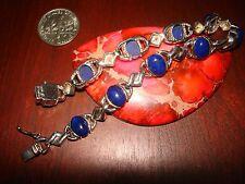 Stunning Vintage Sterling Silver & Lapis Lazuli Gemstones Bracelet.925