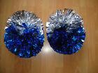 Child Adult Football Basketball Halloween Cheerleader 2PomPoms Silver Blue half