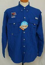 New University Of Memphis Tigers Columbia Bahama Ii Blue Pfg Ls Shirt Men's M