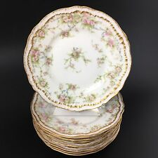 Antique Haviland Limoges Double Gold Set Of 8 Bread Dessert Cake Plates Sch 142a