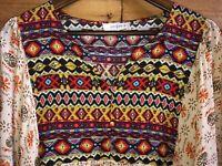 Umgee Tunic Top Women's Sz XL Southwest Aztec Boho V-Neck Tribal 3/4 Sleeve
