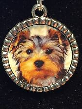 "Yorkshire Terrier Dog Puppy Charm Tibetan Silver with 18"" Necklace"
