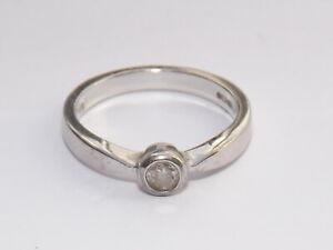 9CT WHITE GOLD DIAMOND SOLITAIRE RING 9 CARAT, 0.15CT DIAMOND RING M, HALLMARKED