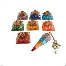Orgón Orgonita pirámides & Juego De 7 Chakra Piedras Preciosas Cristal curativo péndulo R