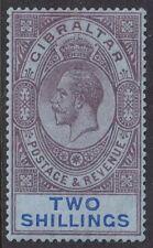 Gibraltar King George V 1912 2/- Purple & Blue / Blue MLH  SG 82