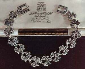 Vintage Art Deco Style Marcasite Crystal Bracelet 20cm In Length