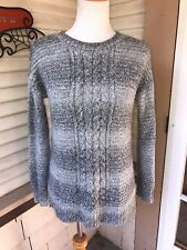 SANCTUARY ANTHROPOLOGIE SWEATER TOP SOFT GRAY/CREAM FUZZY ACRYLIC XS RUNS LARGER