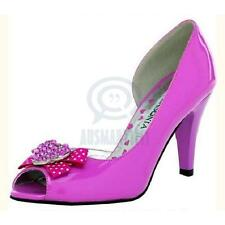Sexy Womens Party Shoes Open Toe Pink Ribbon Bow Rhinestone Pump High Heels