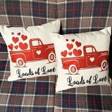 Valentine Red Truck Loads Of Love Hearts Throw Pillow Covers Set Of 2 NEW