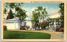 "Brentwood, CA Postcard ""Residence of Joan Crawford"" STARS HOMES Linen c1940s"