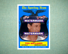 Ted Williams All Star Boston Red Sox 1959 Style Custom Art Card
