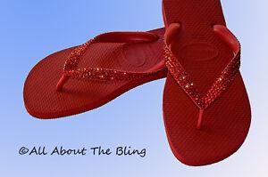 Havaianas flip flops red  hand jeweled Swarovski  crystals rhinestones sandal