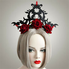 Halloween Punk Gothic Roses Flower Headband Wreath Princess Queen Crown Cosplay