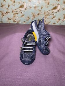Size 7 TODDLER | Stride Rite Sandals Kyle Blue Leather / Mesh Closed Toe