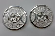 """Silver 3"""" Heavyweight Triple Moon Altar Tile, with Pentagram (2 pieces)"""