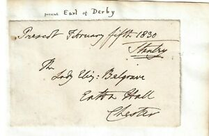 Edward Smith-Stanley, 13th Earl of Derby. UK MP  Signed Free Front 1830