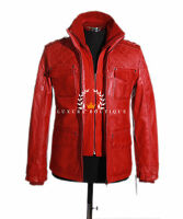 Franco Red Men's New Retro Casual Real Waxed Quilted Leather Safari Jacket