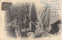 CPA COTE D'IVOIRE ABATTAGE D'UN ARBRE ABIDJAN MARS 1904